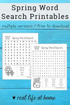 Free Printable: Spring Word Search Printable Puzzle for Kids Quiet Time Activities, Dementia Activities, Spring Activities, Dementia Crafts, Elderly Activities, Spring Word Search, Kids Word Search, Printable Puzzles For Kids, Worksheets For Kids