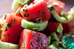 Cucumber-Watermelon Salad. Great side dish for a summer BBQ.