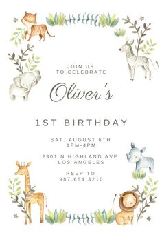 Happy Zoo Animal Wreath - Birthday Invitation  #invitations #printable #diy #template #birthday #firstbirthday #1stbirthday #party