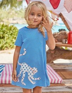 Kids Girl Fashion sans manches O-Neck Cartoon Dinosaure Imprimé Tunique princesse robe
