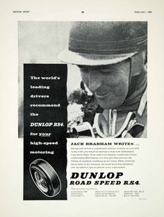 1960 Ad Dunlop Road Speed RS4 Car Tyres Tires Auto Part Jack Brabham Racing YMT2
