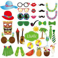 c1b6dbbac1 36x Hawaiian Luau Party Photo Booth Props Summer Tropical Beach Selfie  Decor Photo Booth Props