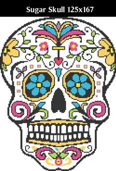 Sugar Skull -- Counted Cross Stitch Chart Pattern Cross Stitching, Cross Stitch Embroidery, Embroidery Patterns, Disney Tapestry, Cross Stitch Designs, Cross Stitch Patterns, Pixel Pattern, Halloween Cross Stitches, Cross Stitch Heart