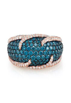 Effy Bella Bleu 14K Rose Gold Blue and White Diamond Ring, 2.95 TCW