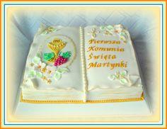 "First Communion cake ""Book"" Religious Cakes, Communion Cakes, First Holy Communion, Confirmation, Christening, Holi, Desserts, Food Cakes, Recipes"
