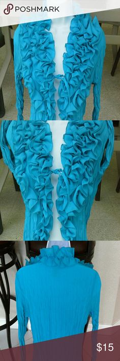 Beautiful sheer crinkle style blouse/shirt cover EUC.  center tie.  100% polyester.  Sz small but fits me at medium Rene Margo Tops