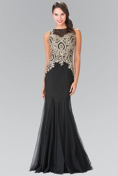 Sleeveless Illusion Dress with Lace Applique by Elizabeth K GL2283