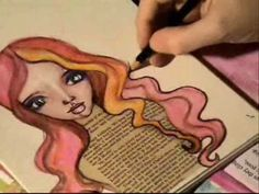 Messy Messy Messy Art! --- Art Journal towards the end she shows her mixed media art of the girl.