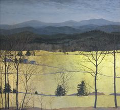 Studio View - Egg Tempera with Gold Leaf Landscape - Gary Milek
