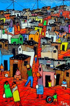 Artists currently on display at Heather Auer Art & Sculpture Gallery Great Pictures, Picture Ideas, South African Artists, House Illustration, Slums, Naive Art, Art Club, Mural Ideas, Art Ideas
