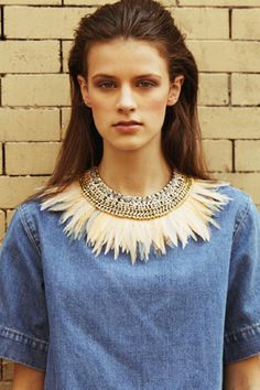 Feather and chain link bib necklace   Lizzie Fortunato Spring 2013 lookbook