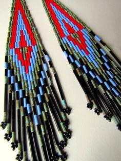Native American Beaded Earrings, Tribal Jewelry