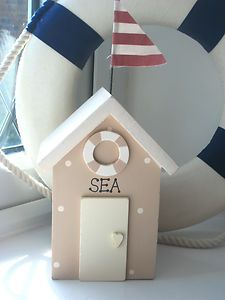 BEACH HUT MONEY BOX IN SAND ~ NAUTICAL INTERIORS