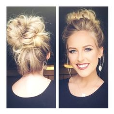 CUTE MESSY BUN Less than 5 min ❤ liked on Polyvore featuring beauty products, haircare, hair styling tools, hair and hair styles