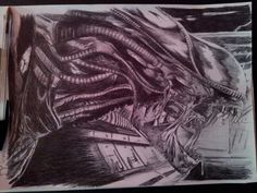 realistic, alien H.R. Giger with bic