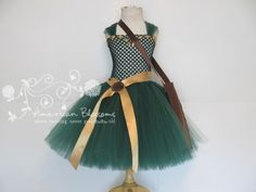 Merida Costume Tutu Dress  Girls Toddler Brave Halloween Costume Princess Merida Tutu Dress Inspired Merida Dress by American Blossoms on Etsy, $52.00
