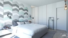 www.advdesign.pl 63m2_3  bedroom mint grey fluffo wall panels copper design house stockholm