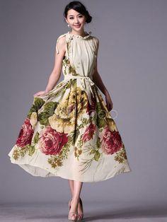 Romantic Floral Print Silk Sleeveless Round Collar Maxi Dress - Milanoo.com