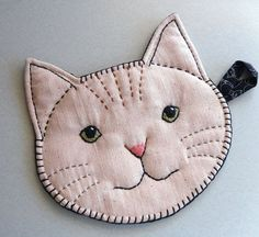 Handmade Cat Face Pot Holder with Embroidery and by maryholstad, $25.00: