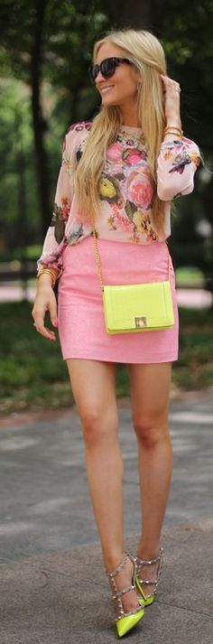 Great street style: Ruelles Yellow Mini Exotic Leather Clutch, Valentino yellow rock stud pumps