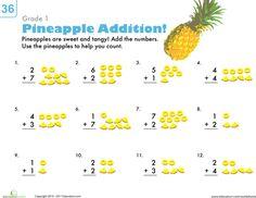 Worksheets: Count 'Em Up: Pineapple Addition