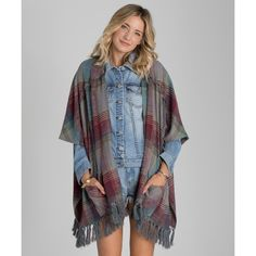 Forever Fall Flannel Kimono Top (73 BAM) ❤ liked on Polyvore featuring tops, thunder cloud, woven tops, woven top, fringe kimono top, kimono wrap top, flannel top and fringe tops
