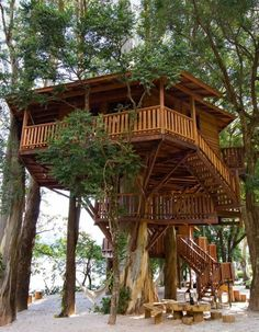 """All images from Tree Houses: Fairy Tale Castles in the Air. This one is the Lake House. When kids close their eyes and imagine a Robinson Crusoe-esque dream house, this is probably what they see. Owned by Brazil's leader builder of tree houses, it is used for """"relaxation and entertaining guests."""" (Tree Houses: Fairy Tale Castles in the Air)"""