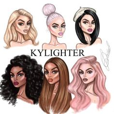 KyLighters illustration Hope you like them! Fashion Artwork, Fashion Design Drawings, Fashion Sketches, Hair Illustration, Fashion Illustration Dresses, Drawing People Faces, Trill Art, Fashion Design Template, Character Design Girl