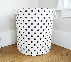 Extra Large Hamper, Fabric Storage Laundry Basket, White And Black Polka  Dot Fabric Organizer