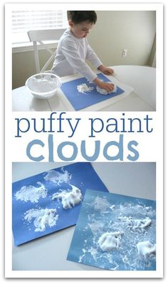 Nutrition preschool science Puffy Paint Clouds - perfect craft for Little Cloud by Eric Carle Weather Activities Preschool, Preschool Themes, Preschool Science, Preschool Lessons, Classroom Activities, Young Toddler Activities, Teaching Weather, April Preschool, Spring Activities