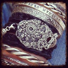 Cool boho leather wrap bracelet by HappyGoLicky Jewelry