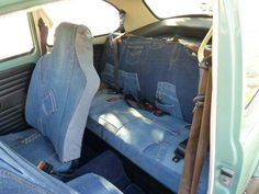 Denim seat covers in a sweet '71 1302!!! Amazing! My first car was a '69 VW and would have LOVED to have my seats look like this!!!!!!!!