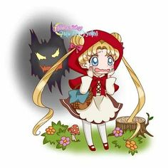 Usagi (Sailor Moon) as Little Red Riding Hood Sailor Moon Fan Art, Sailor Moon Character, Sailor Moon Usagi, Sailor Neptune, Sailor Uranus, Sailor Moon Crystal, Sailor Mars, Princesa Serena, Manga Anime