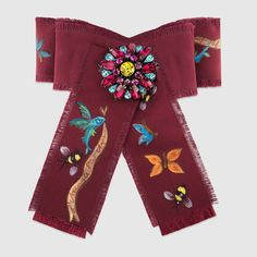 Unskilled Worker Grosgrain Bow Brooch - Bordeaux Cotton Ribbon - $410