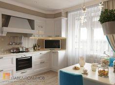 Balcones y terrazas de estilo clásico de студия павла полынова clásico Kitchen Models, Kitchen Sets, Kitchen Colors, Cocina Shabby Chic, Shabby Chic Kitchen Decor, Dining Room Design, Interior Design Kitchen, Turquoise Kitchen Cabinets, Classic Kitchen