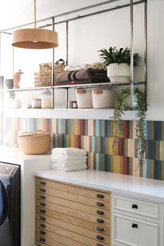 Rainbow Tile Laundry Room Renovation Reveal from start to finish, and all the details! - Vintage Revivals