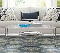 Tanner Rectangular Coffee Table - Polished Nickel finish