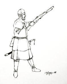 Svan crossbowman of the century Military Costumes, Central Asia, 15th Century, Byzantine, Georgian, Archaeology, Warriors, History, Artist