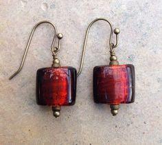 Red Murano Glass and Brass Earrings deep red by EastVillageJewelry Beautiful handmade jewelry ~ Sundance style www.eastvillagejewelry.etsy.com