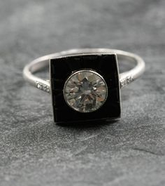 Art Deco Diamond & Onyx Engagement Ring Set in Platinum. Striking in It's Contrast of Gems.