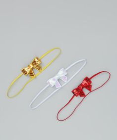 White, Red & Gold Sequin Bow Headband Set