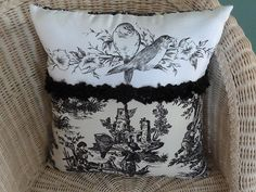 "PILLOW 17"" X 16"" BLACK AND CREAM TOILE WITH UNIQUE BLACK AND WHITE BIRD PANEL $28"