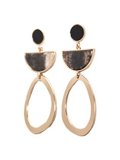 Earrings comprising a hoop and a piece with a marble-effect finish. Featuring push-back clasps.