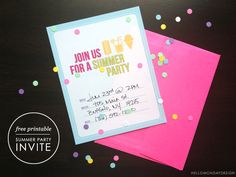 Free Summer Party Invitation Printable!