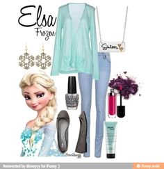Elsa from Frozen - inspired outfit! Frozen Outfits, Disney Princess Outfits, Disney Themed Outfits, Disney Bound Outfits, Disney Dresses, Frozen Inspired Outfits, Disney Clothes, Disneyland Outfits, Elsa Outfit