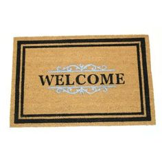 Gated Welcome 24x36 Inch Printed Coir Doormat, White