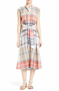 Sea Tie Waist Plaid Dress