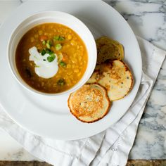 Coconut Lentil Soup with Socca