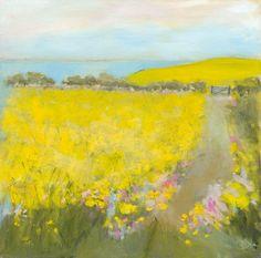 Sue Fenlon: Yellow field by the sea