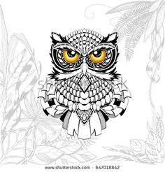 Owl Tattoo Stipples Outline With Tropical Leaves Vector Illustration